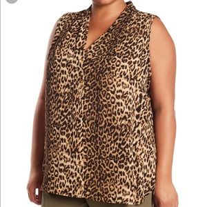 Vince Camuto leopard print sleeveless blouse 1x